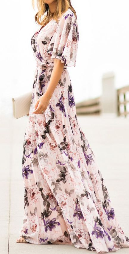 short sleeved white floral maxi dress