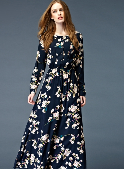black floral maxi dress with long sleeves