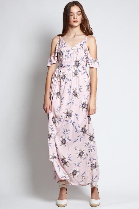 cool shoulder floral maxi dress outfit