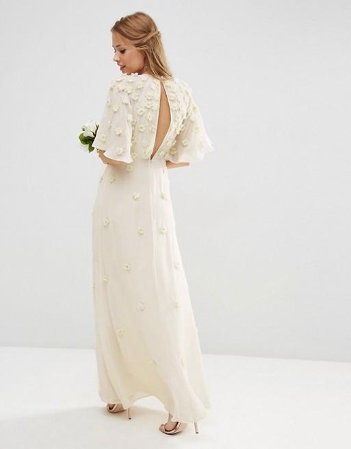 Wedding floral maxi dress 3d