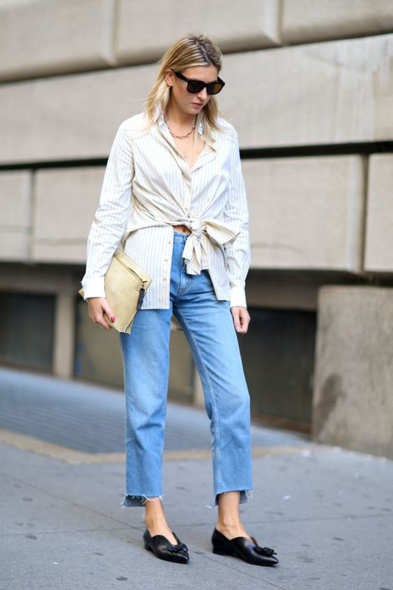 buttoned shirt with pointed toe