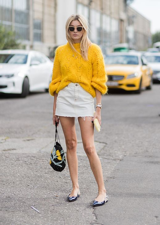 pointed toe shoes yellow sweater