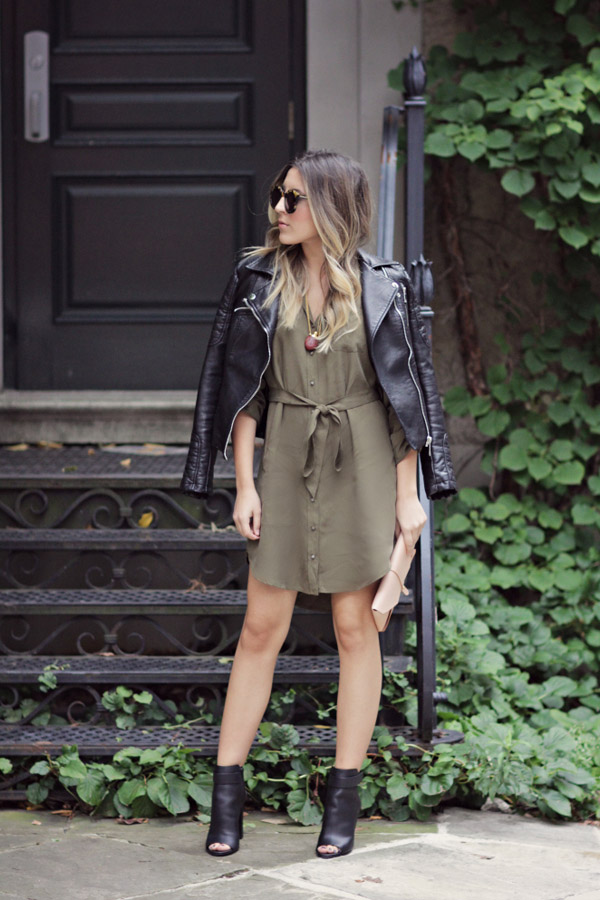 green dress black leather jacket with open toe boots