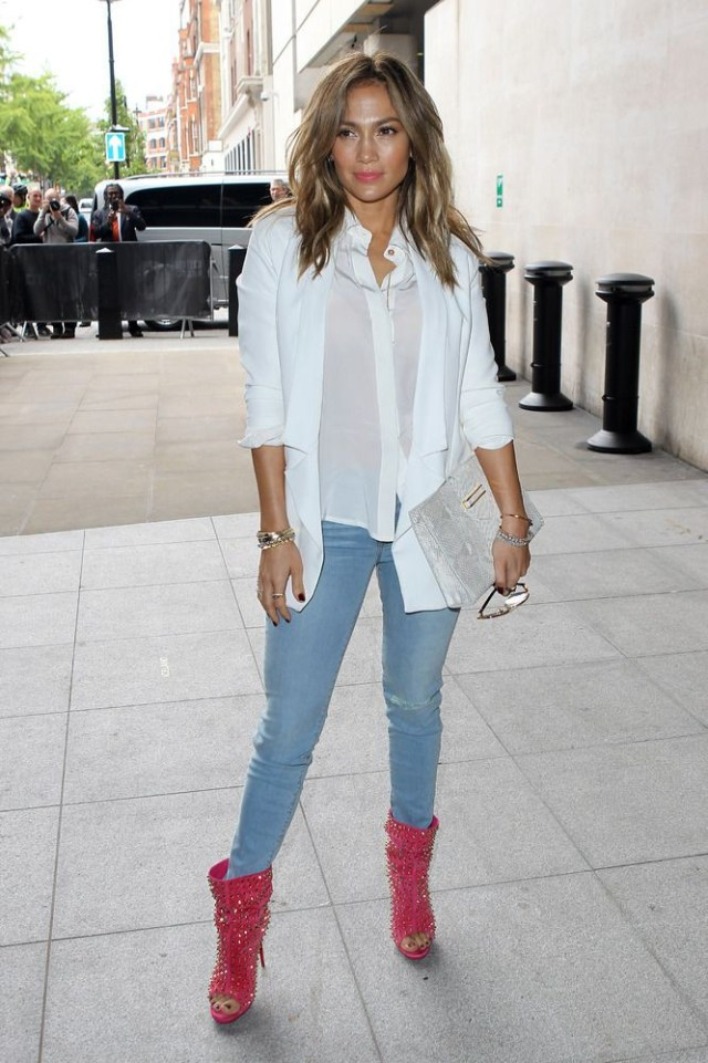 white shirt and jacket with paired booties