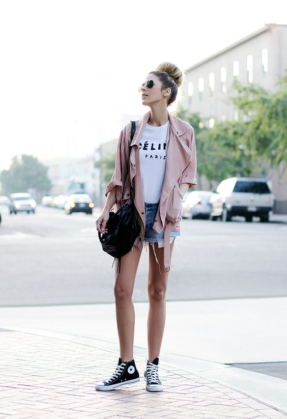 black high top converse denim shorts