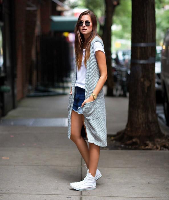long sleeveless cardigan white high top converse