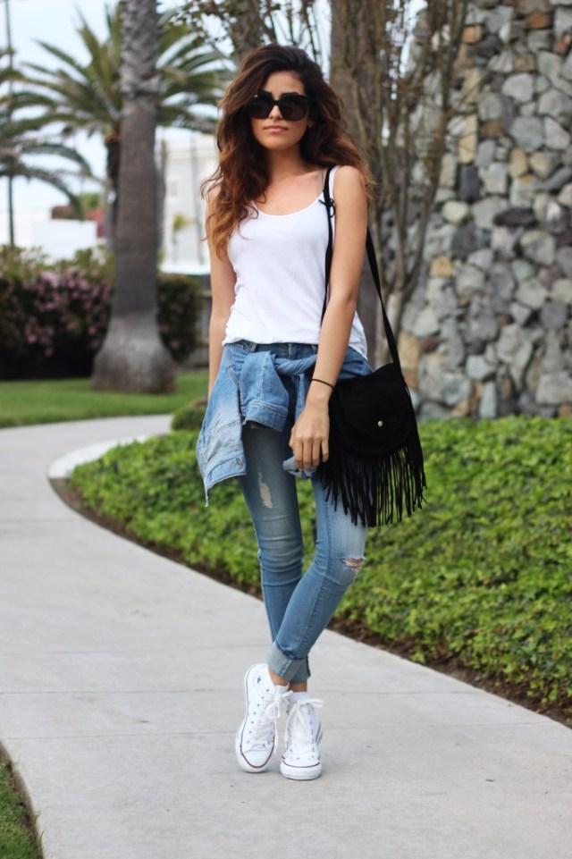 white converse cuffed jeans white vest