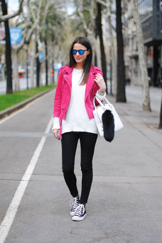 black high top converse skinny jeans pink jacket