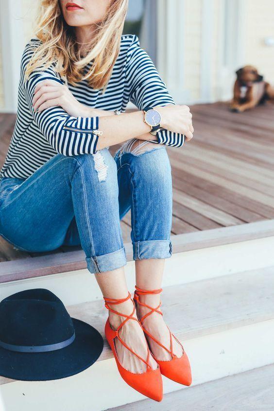 lace flats striped shirt