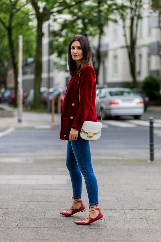 lace flats red blazer