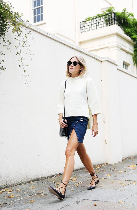 lace flats mini denim skirt