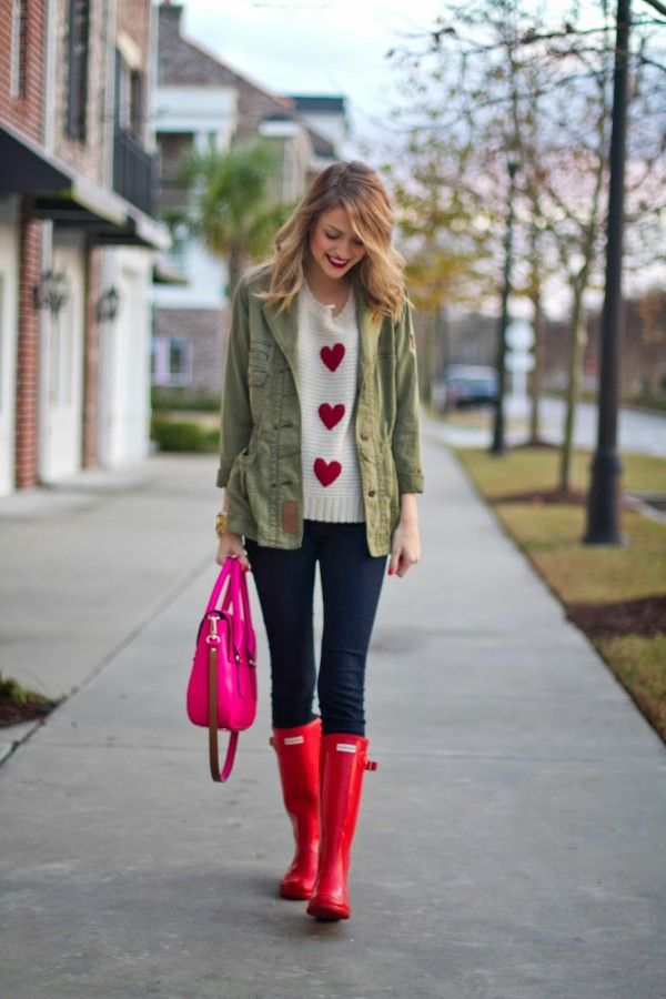 red rain boots military jacket