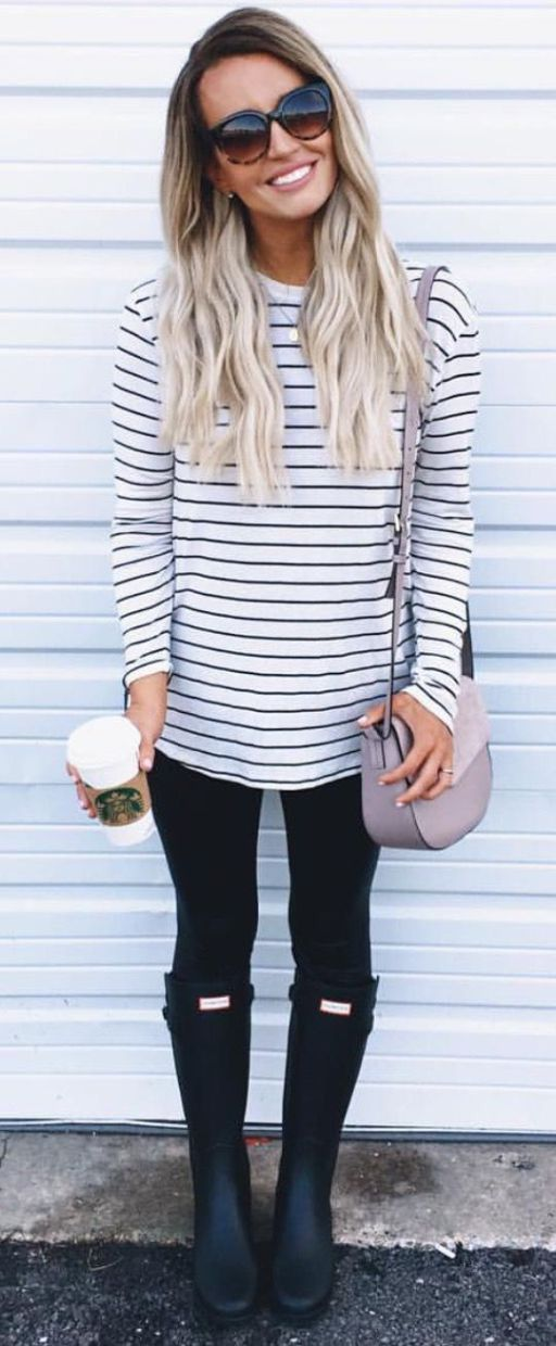 horizontal striped tee black rain boots