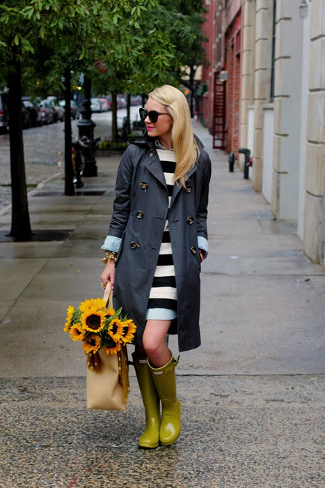 charcoal trench boat rain boots outfit
