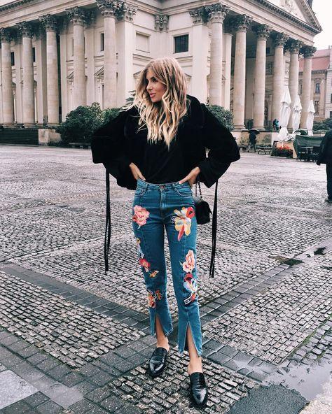embroidered jeans black jacket