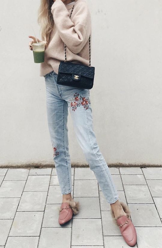 embroidered jeans pink sweater