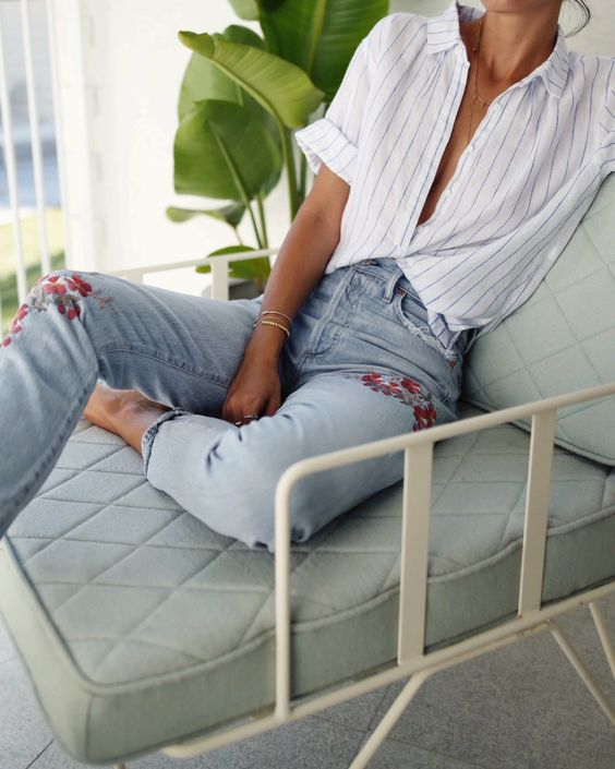 embroidered jeans striped shirt