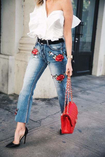 embroidered jeans red roses