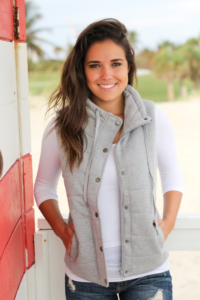 Heather gray gray quilted vest over white tee