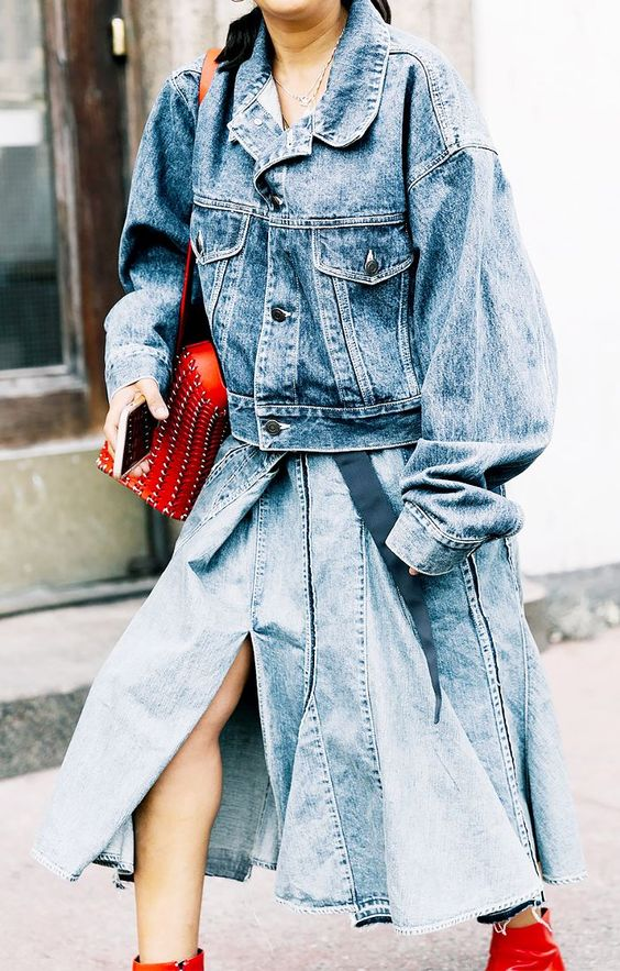 denim on denim oversized skirt