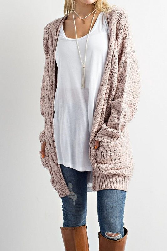 white long tee cable knitted sweater