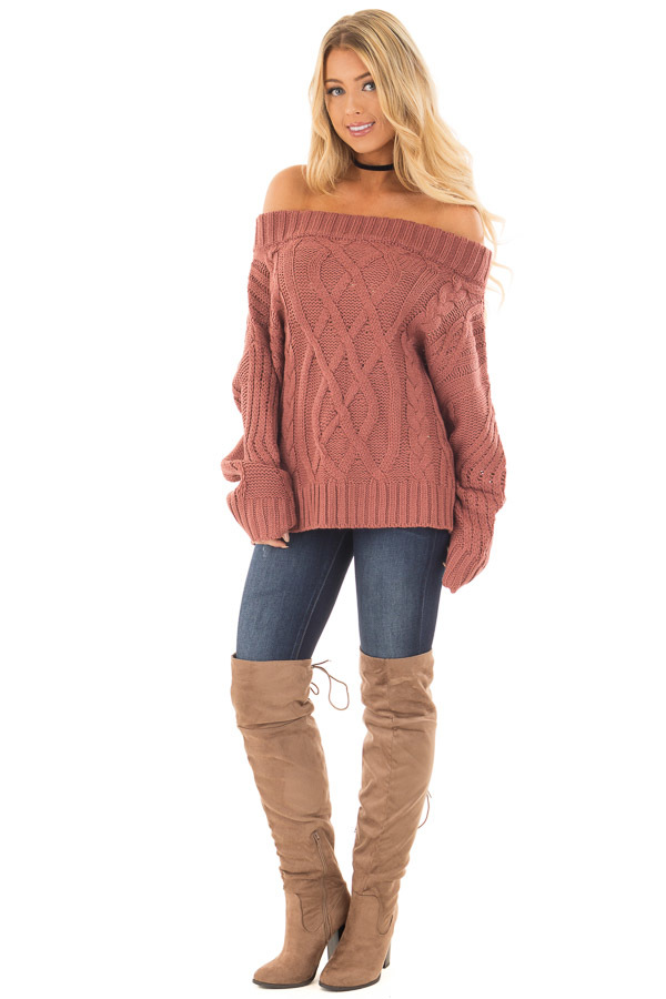 of shoulder cable knit sweater jeans