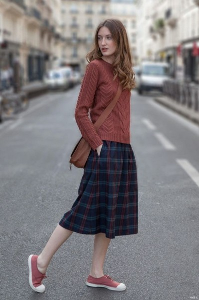 casual cable knitted sweter skirt