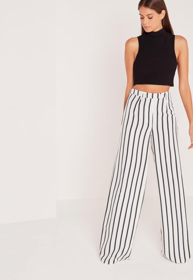 striped wide leg pants black crop top