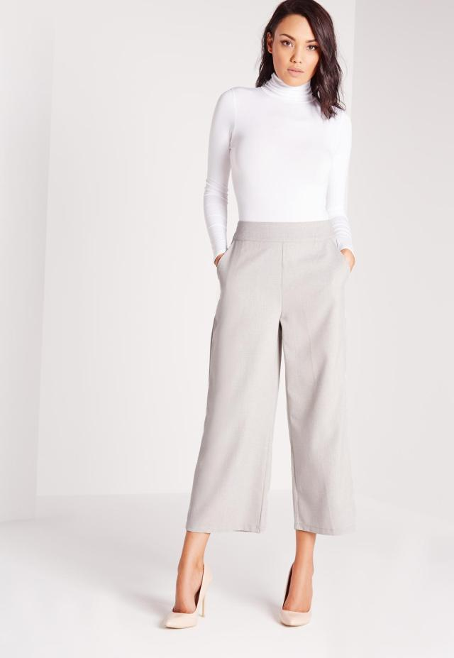 gray wide leg pants white sweater