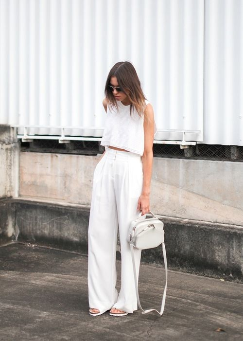 all white trousers with wide legs with high waist