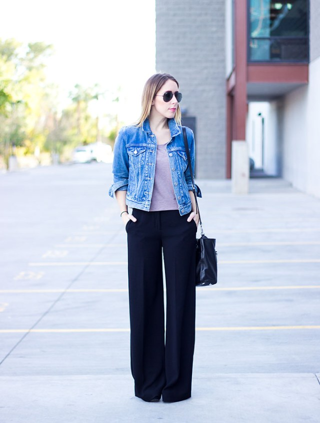 denim jacket black wide leg pants