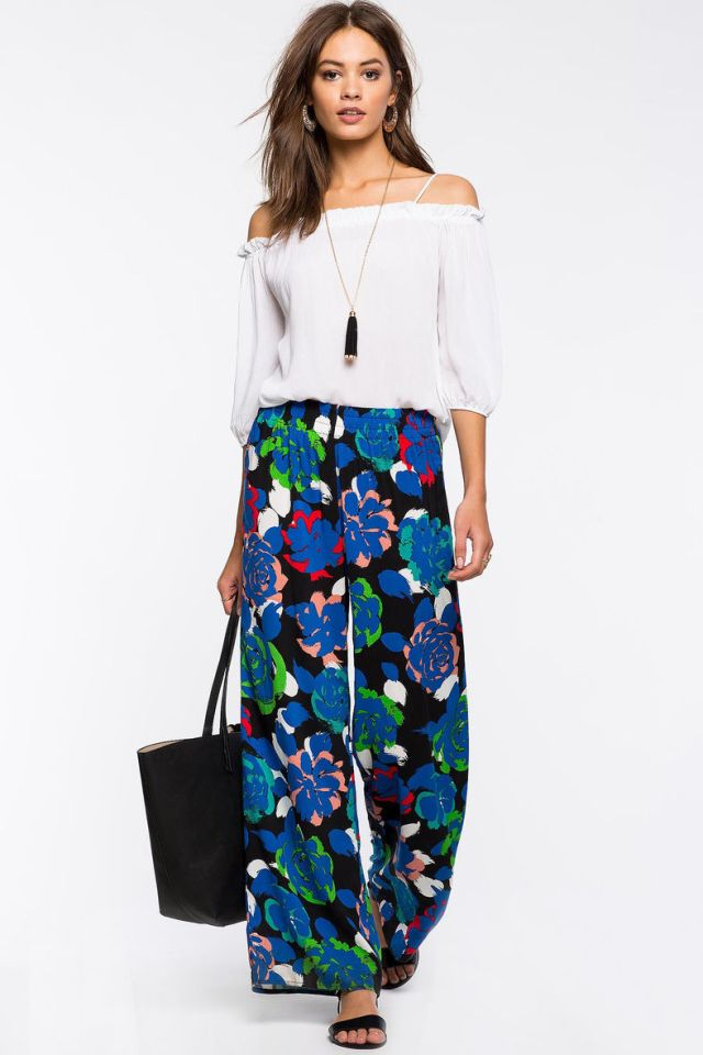 flowers with wide leg pants white cold shoulder blouse