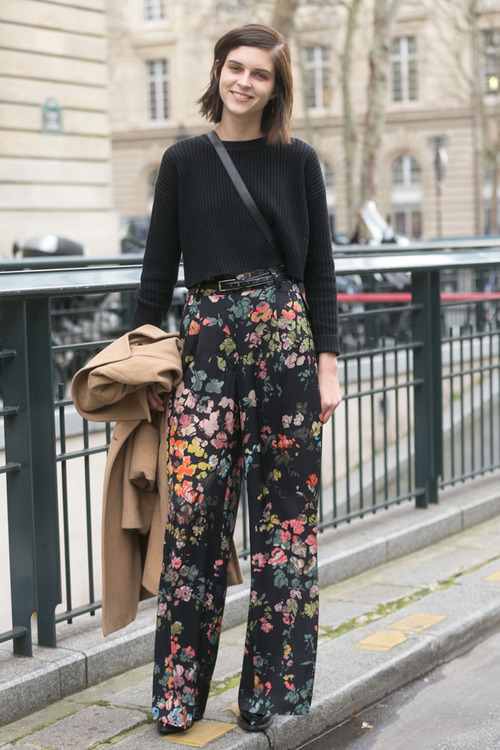 black sweater flowers with wide legs