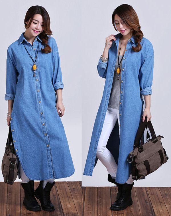 denim long dress outfit