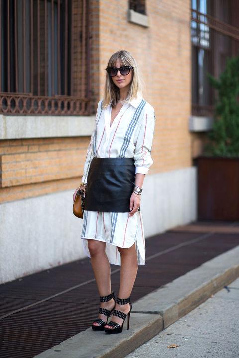 leather skirt over long dress