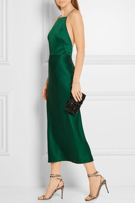 satin emerald green dress