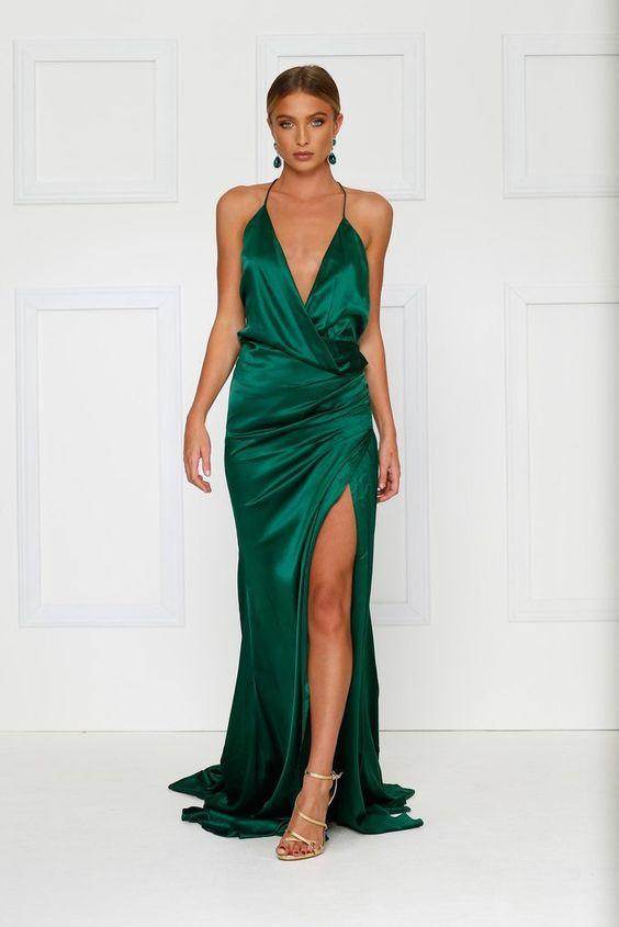 emerald green dress column