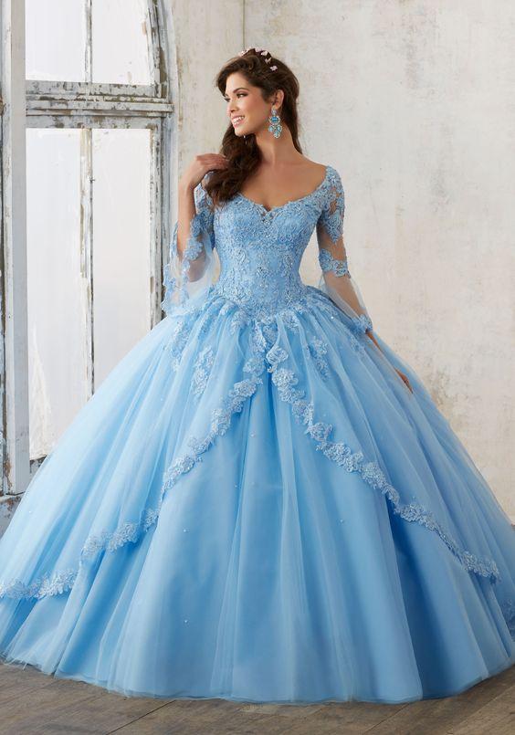 blue quinceanera dress elegant