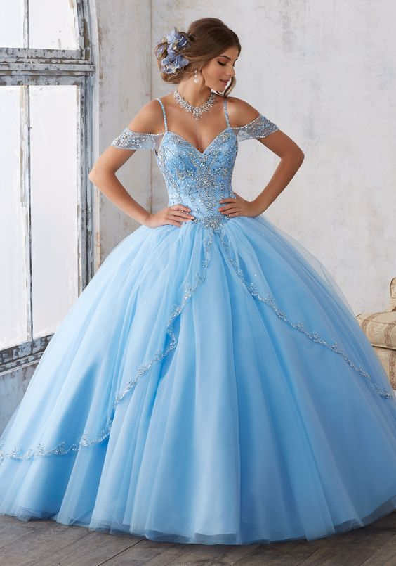 blue quinceanera dress from the shoulder