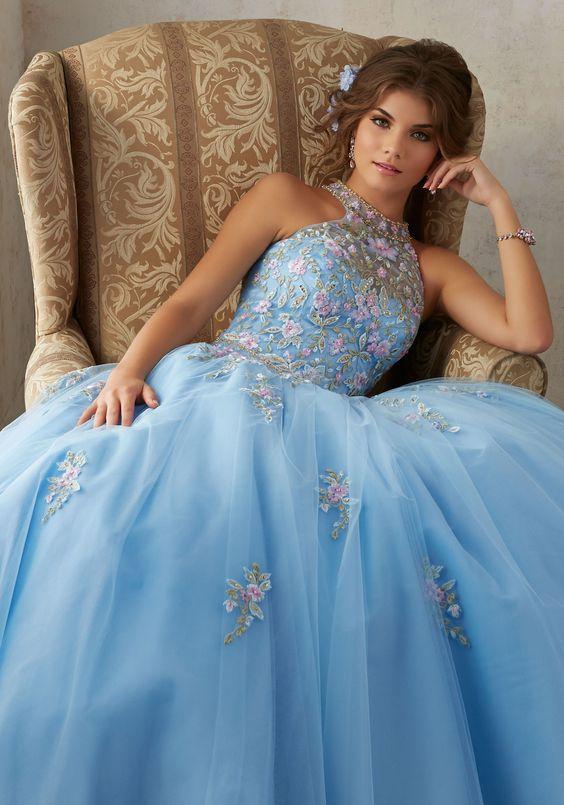 blue quinceanera dress flowers