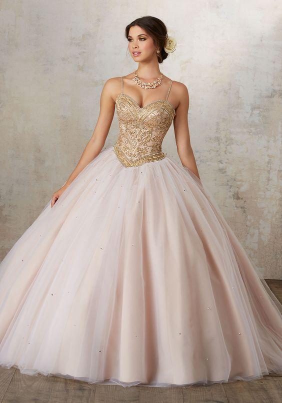 pink quinceanera dress gold