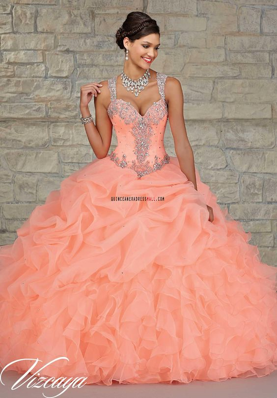 peach quinceanera dress band sequins