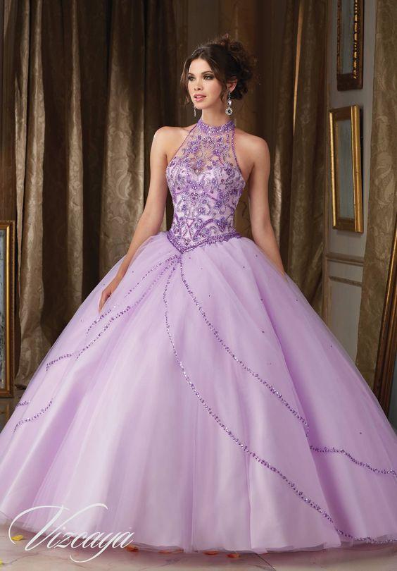 lavender quinceanera dress side straps