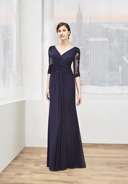 blue long mother to the wedding dress