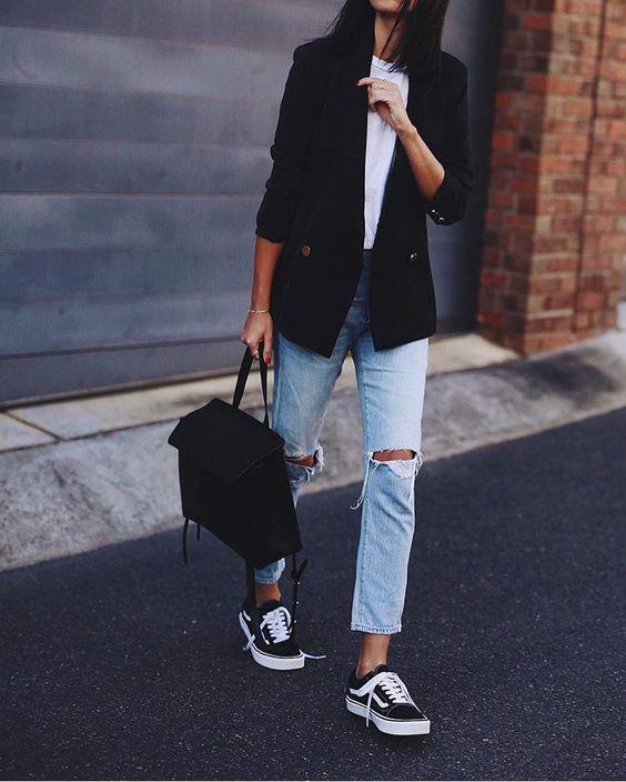 navy blazer black sneakers