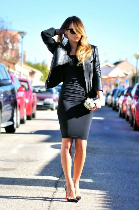 leather jacket black bodycon dress