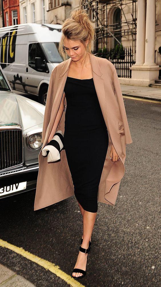 camel skirt black bodycon dress