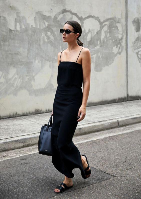 minimal black bodycon dress