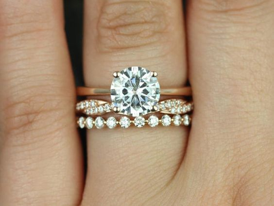 two rings wedding engagement set