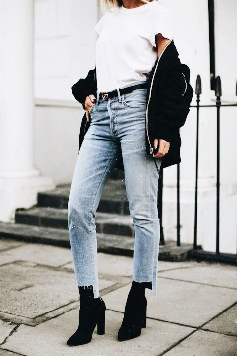 black booties jeans jacket bombs